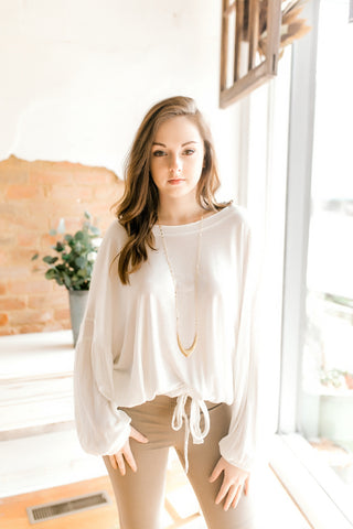 Balloon Sleeve Tie Top -Ivory
