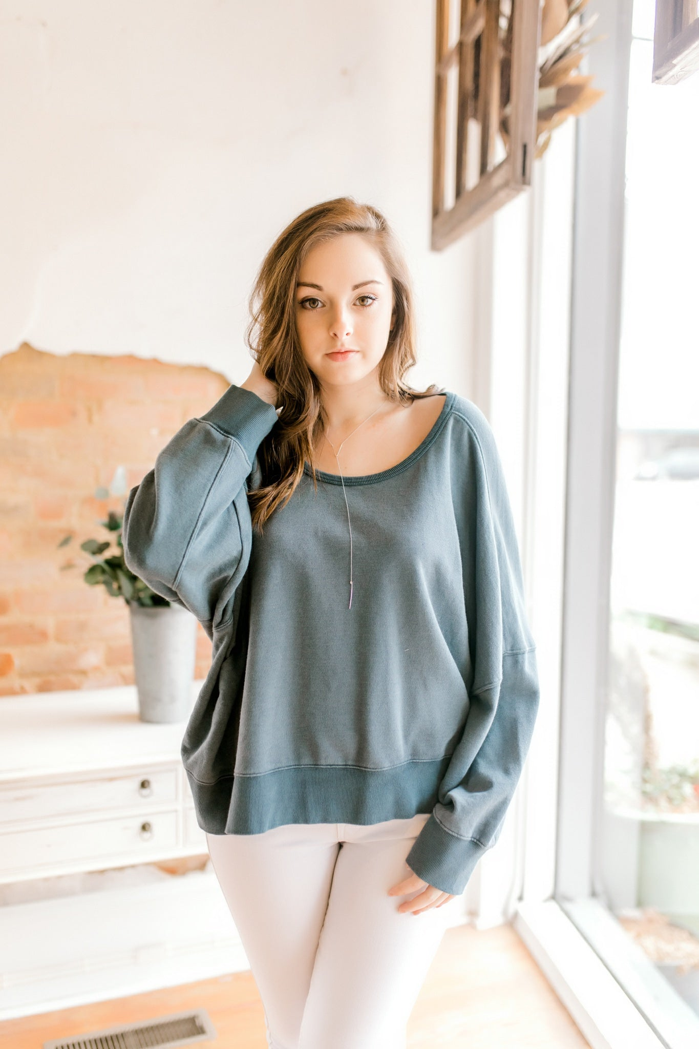 Solid Cross Back Sweatshirt -Blue