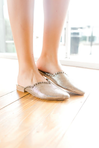 Free People Studded Newport Flat -Silver