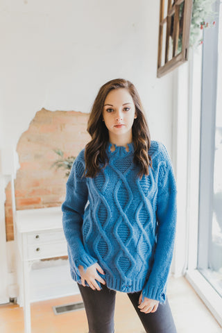 Distressed Pullover Sweater -Turquoise