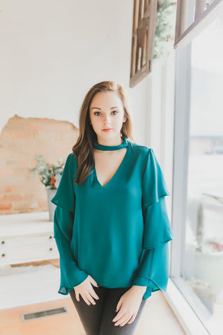 Tier Sleeve Top -Teal