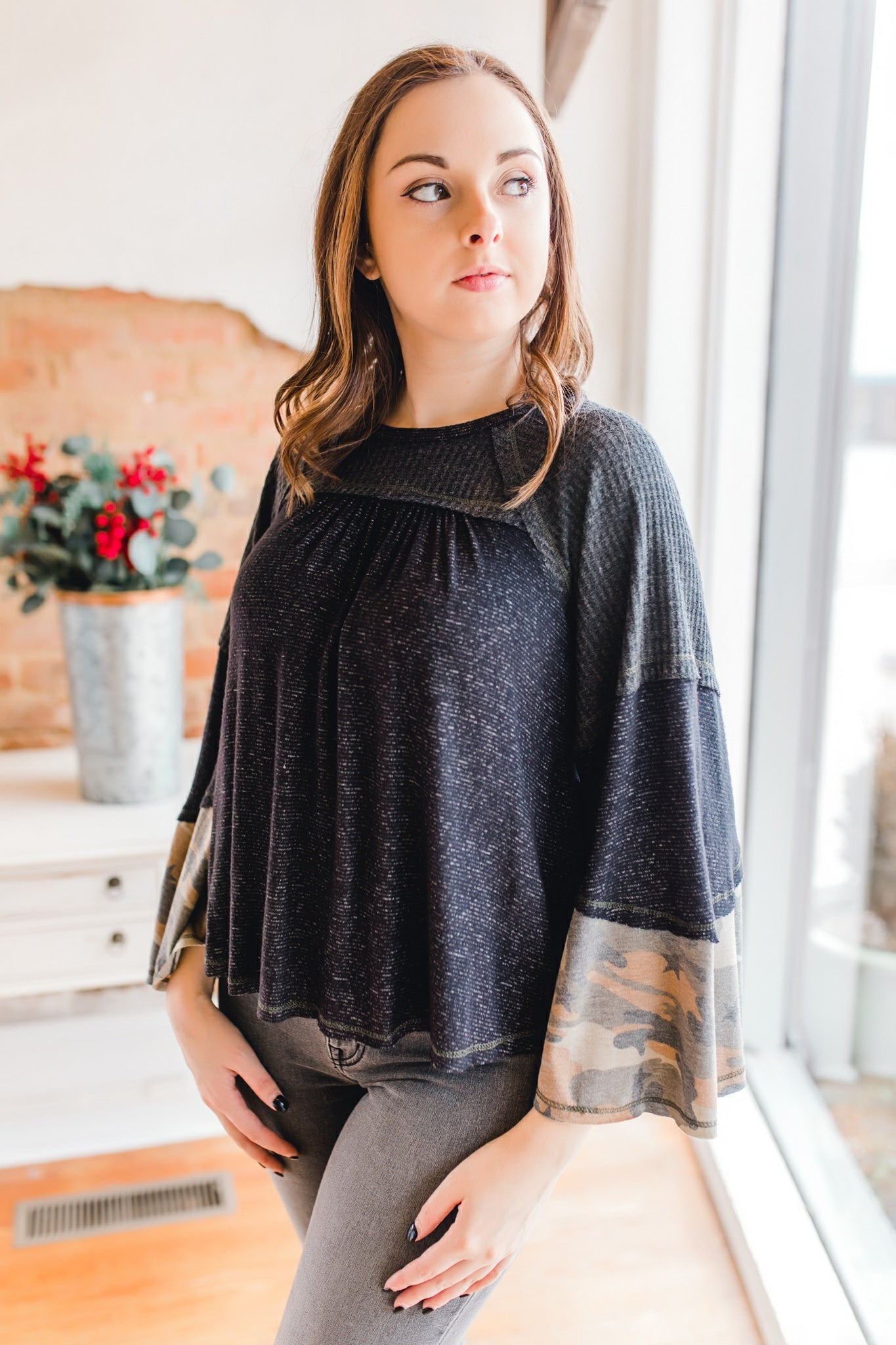 Mixed Media Camo Bell Sleeve Top -Charcoal