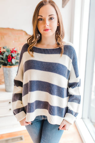 Stone Wash Striped Sweater -Navy/Cream