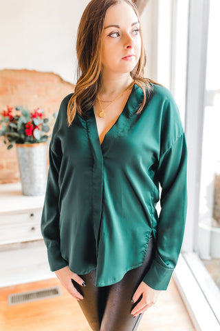 Satin V Neck Button Top -Hunter Green