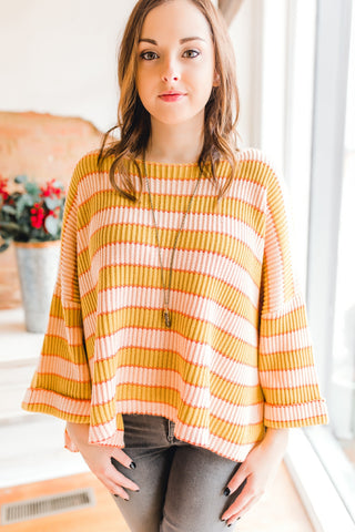 Stone Wash Striped Sweater -Mustard Peach