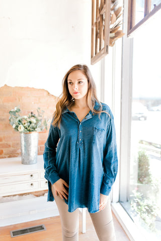 Free People Love This Henley Top -Navy