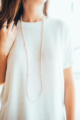 Crystal Layering Necklace -Blush