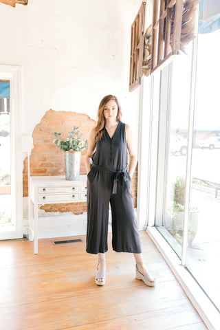 Solid Vneck Tie Jumpsuit -Black