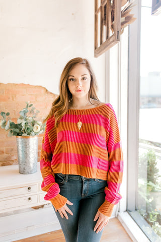 Just My Stripe Pullover -Pink