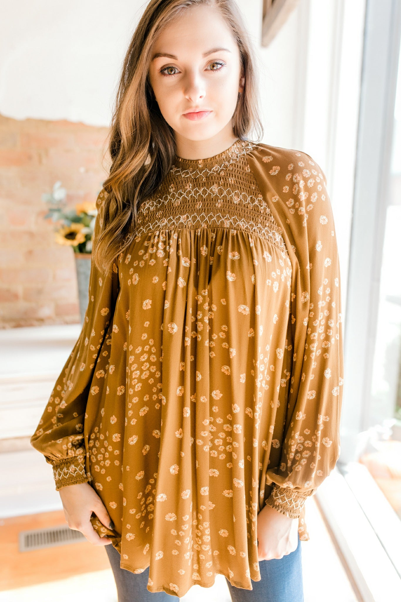 Free People Flowers In Her Hair Tunic -Brown