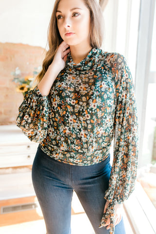Free People All Dolled Up Top -Green Combo