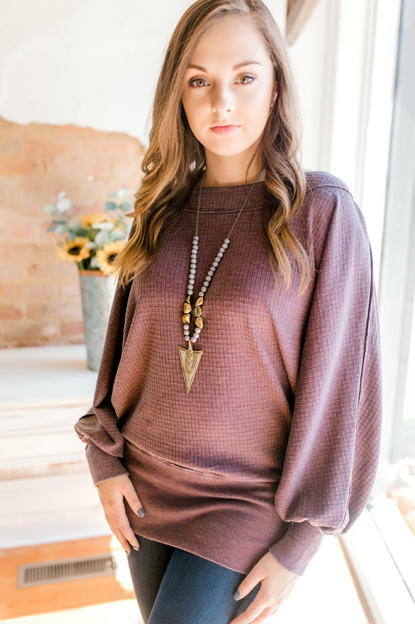 Free People Willow Thermal -Wine