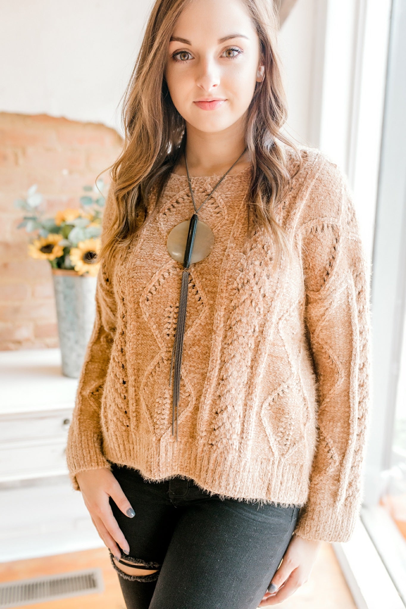 Chunky Cable Knit Chenille Sweater -Camel