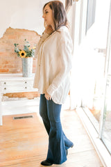 Free People All About The Feels Buttondown Top -Ivory