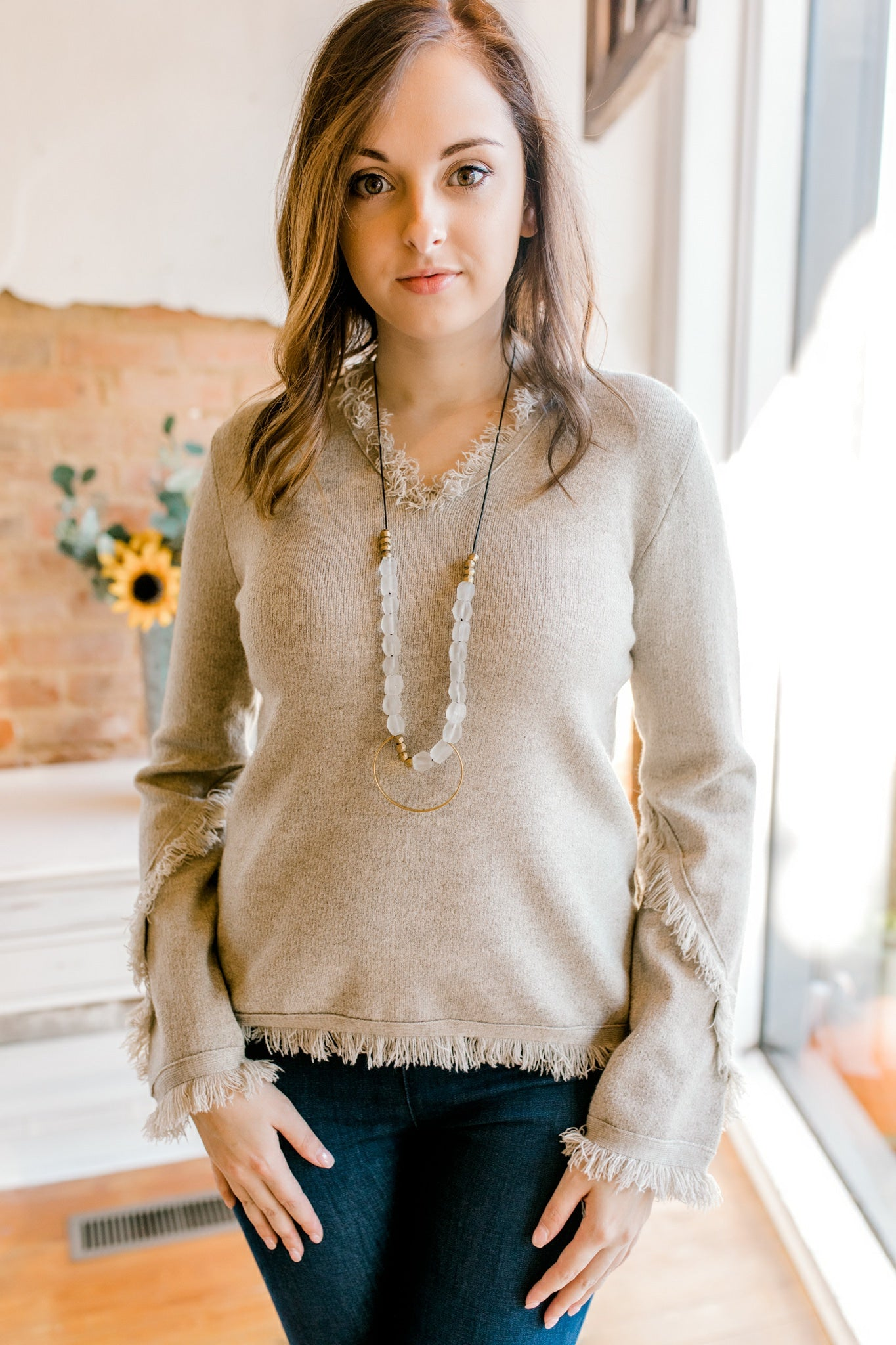 Fringe Knit Sweater -Beige