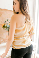 Stripe One Shoulder Top -Mustard