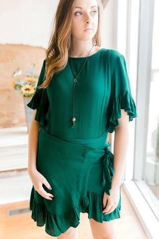 Ruffle Wrap Dress -Dark Green