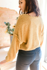 Terry Cloth Seamed Sweatshirt -Mustard