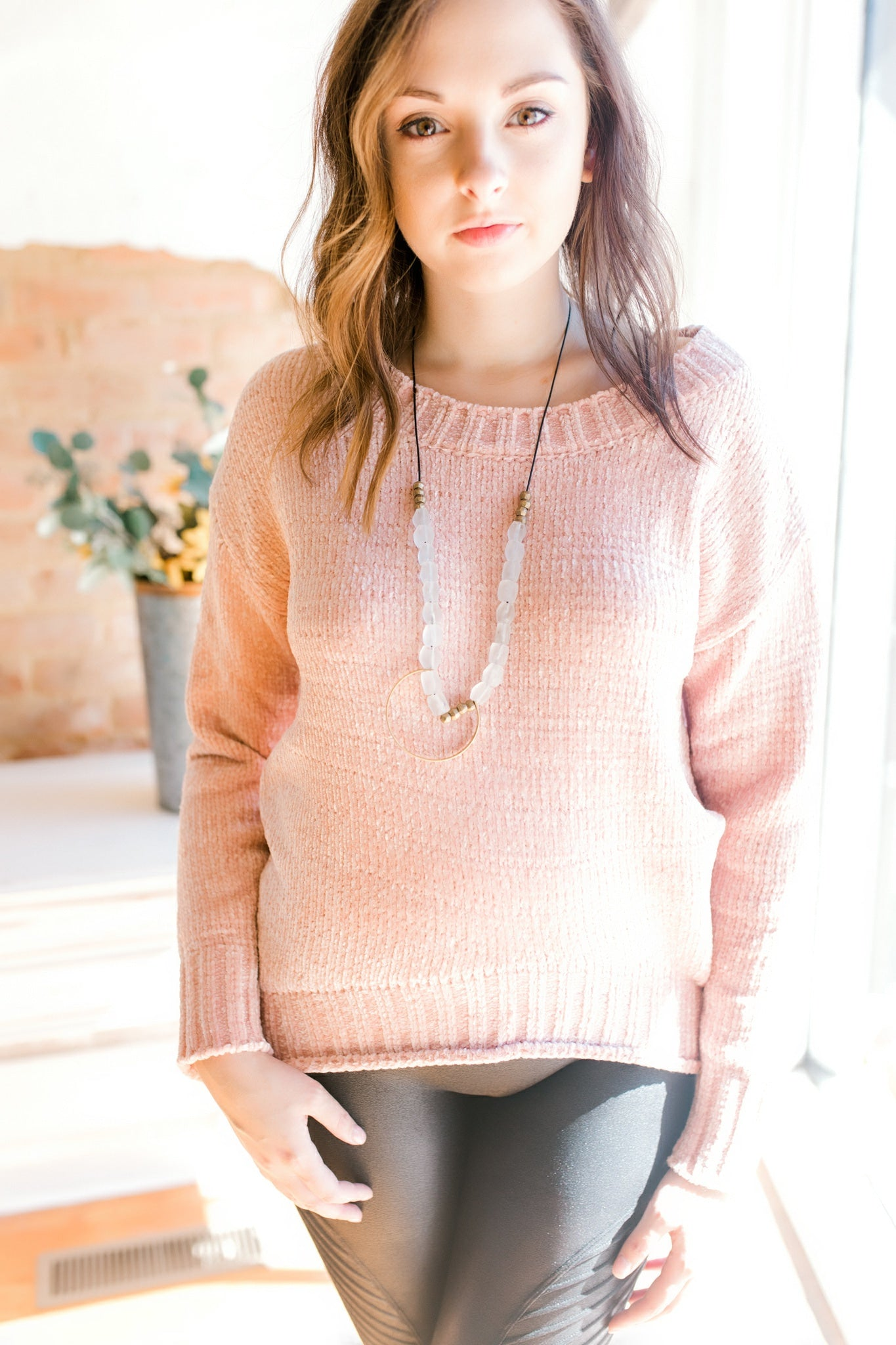 Chenille Crew Sweater -Blush