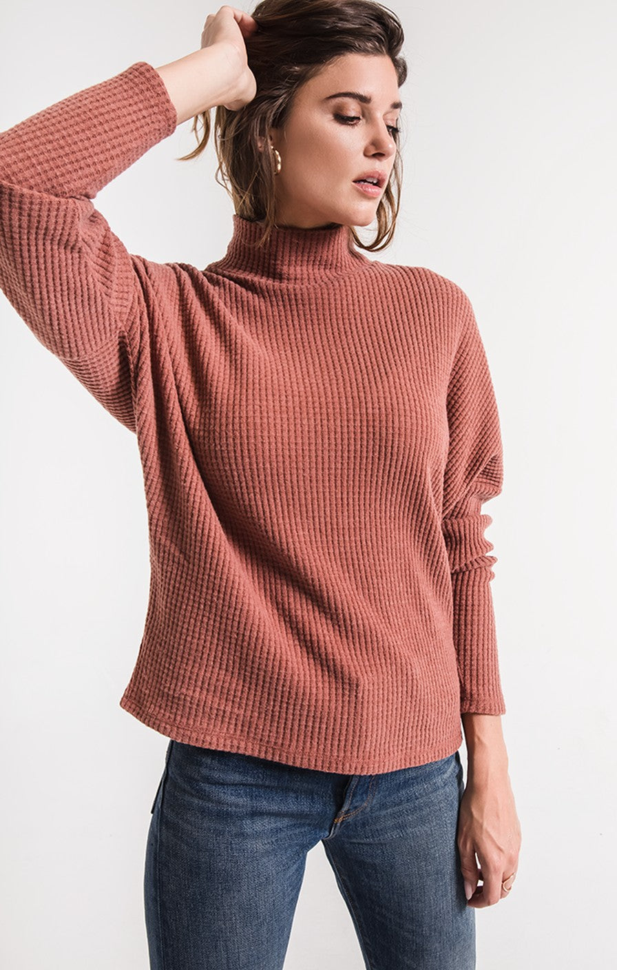 Z Supply The Mock Neck Waffle Thermal -Clay