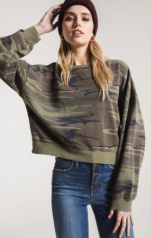 Z Supply The Oversized Fleece Pullover -Camo Green