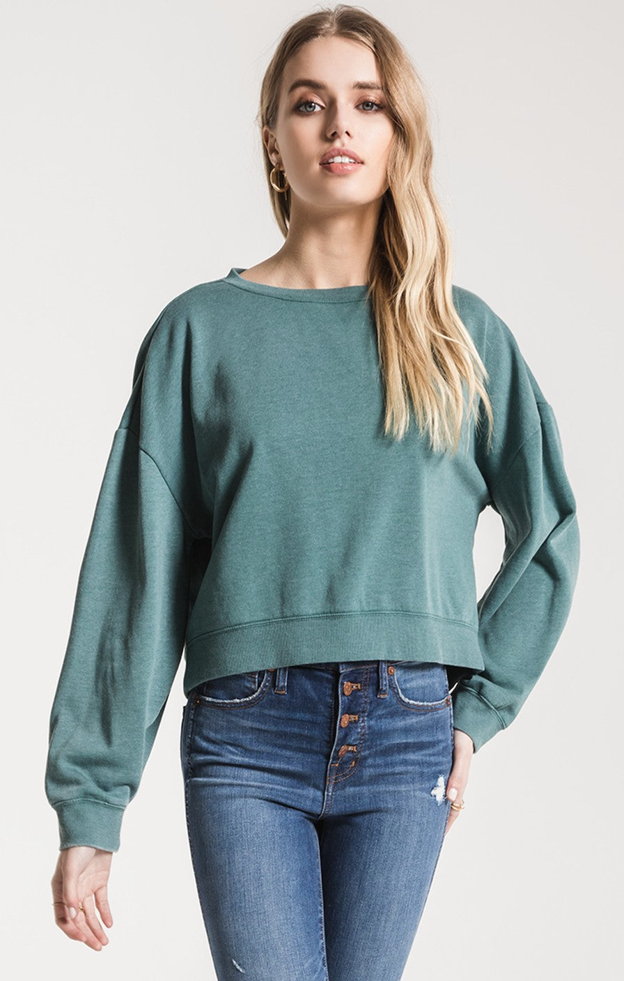 Z Supply The Oversized Fleece Pullover -Pacific Blue