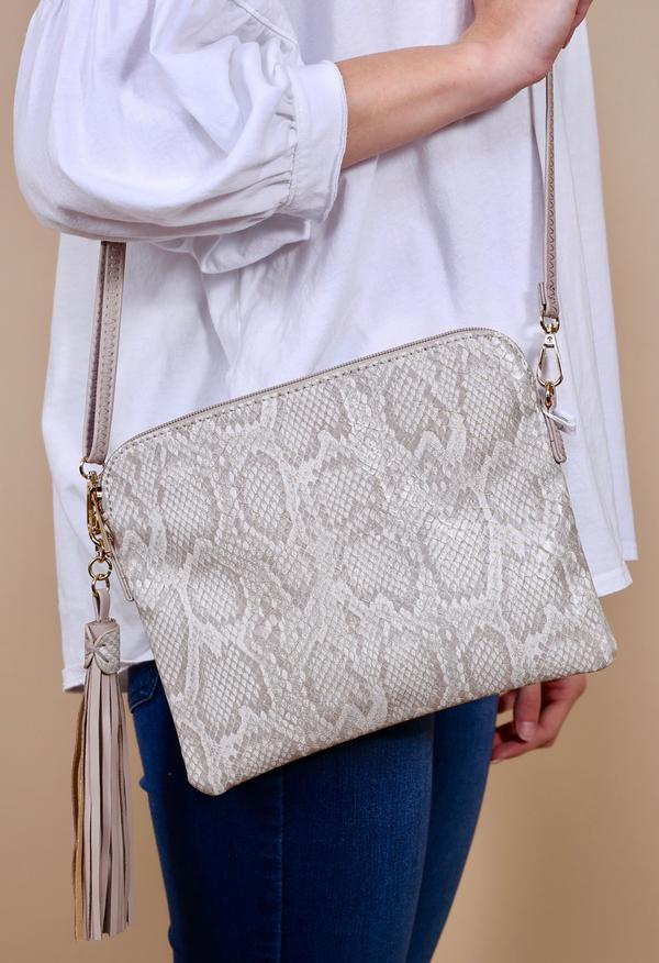 Carol Clutch Crossbody with Side Tassel -Snake Taupe