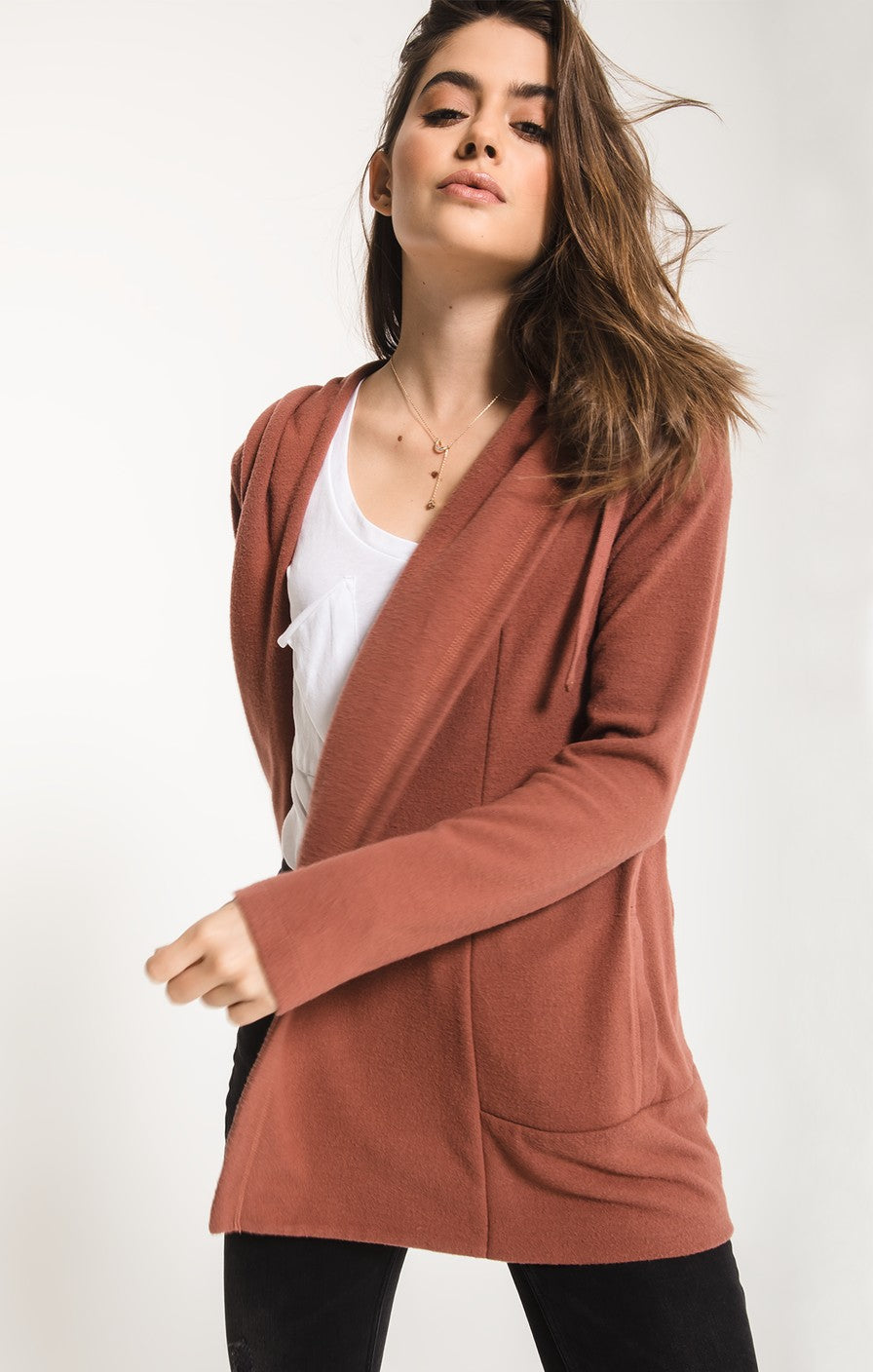 Z Supply Soft Spun Sweater Knit Cardigan -Clay