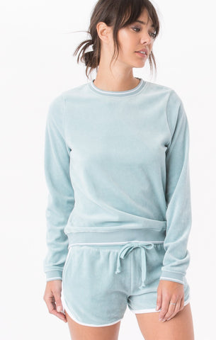 Z Supply The Velvet Pullover Crewneck -Blue Smoke