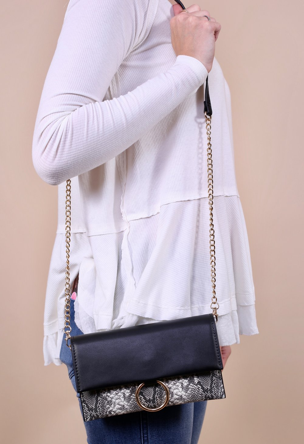 Brandt Foldover Clutch -Grey