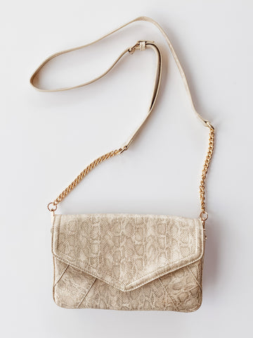 Lauren Crossbody- Snake Shimmer Gold