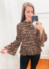 Tiger Print Bell Sleeve Top