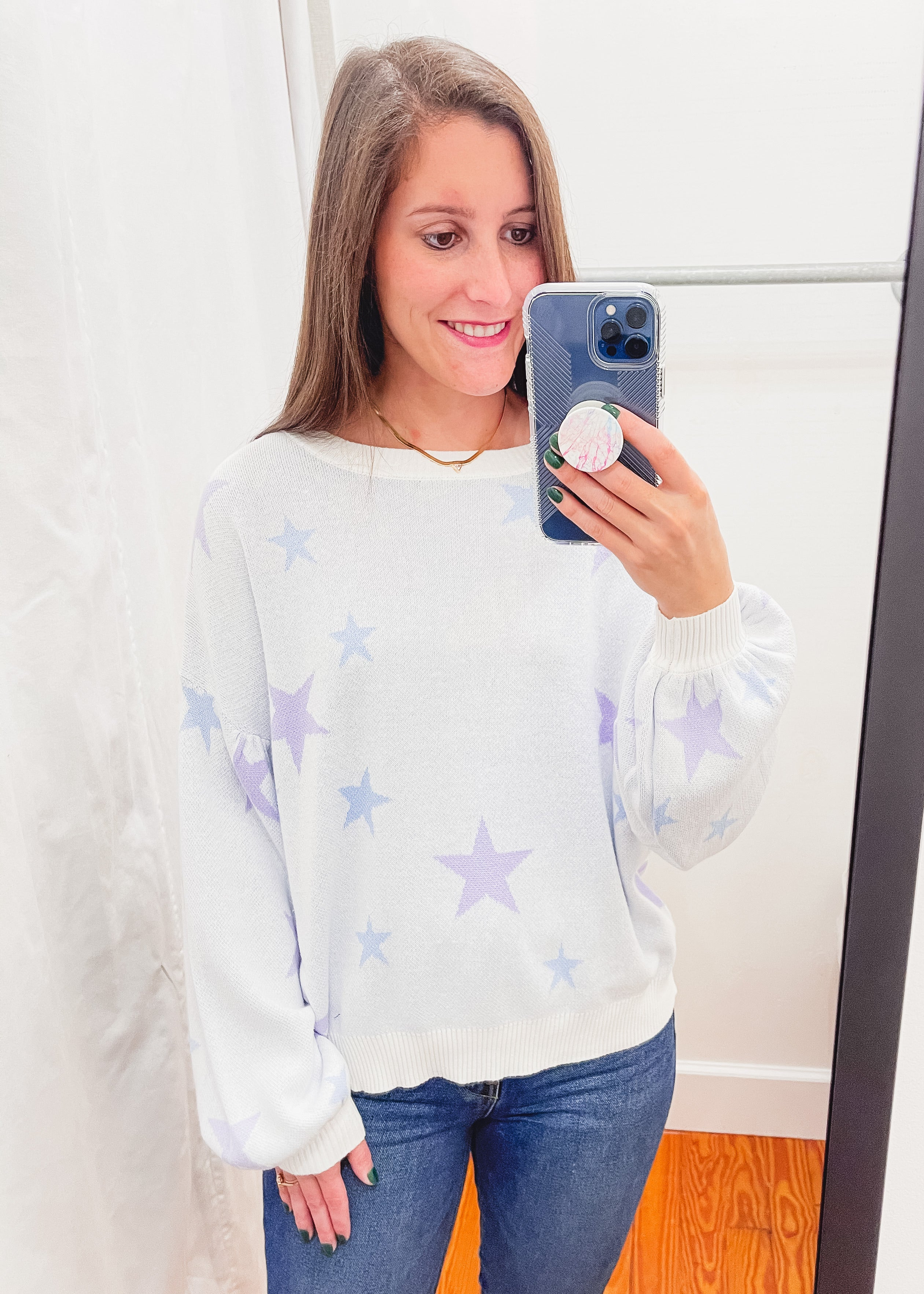 Star Knit Pullover Sweater -White/Baby Blue