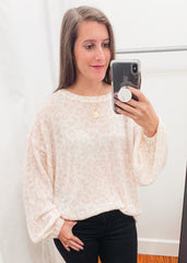 Leopard Balloon Sleeve Sweater -Blush