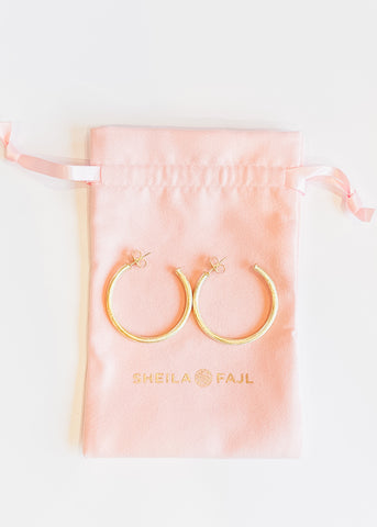 Sheila Fajl Petite Everybody's Favorite Hoops -Brushed Gold