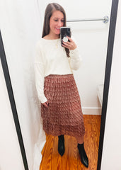 Tiered Ruffle Print Skirt -Rust
