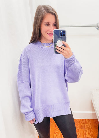 Crew Neck Oversized Sweater -Periwinkle