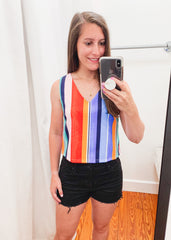 Multi Stripe Sleeveless Top