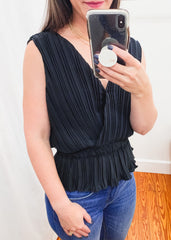 Pleated Sleeveless Top -Black