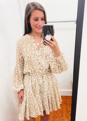 Leopard Chiffon Button Front Dress -Taupe