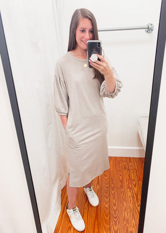Burnout Knit Midi Dress -Taupe