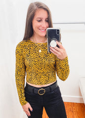 Ribbed Leopard Top -Mustard