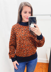 Knit Cheetah Top -Rust