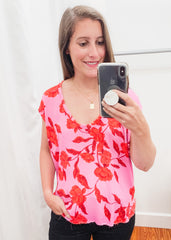 Floral Scoop Top -Pink