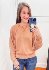 Z SUPPLY: Claire Waffle Long Sleeve -Copper
