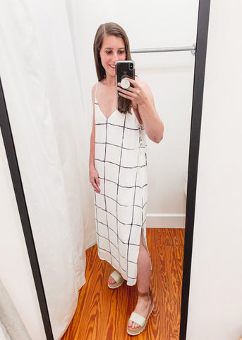 Santolina Grid Dress -White