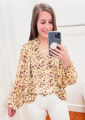 Leopard Chiffon Long Sleeve Top