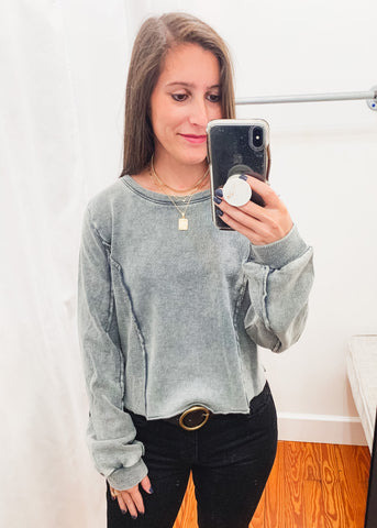 Washed Terry Cropped Sweatshirt -Charcoal