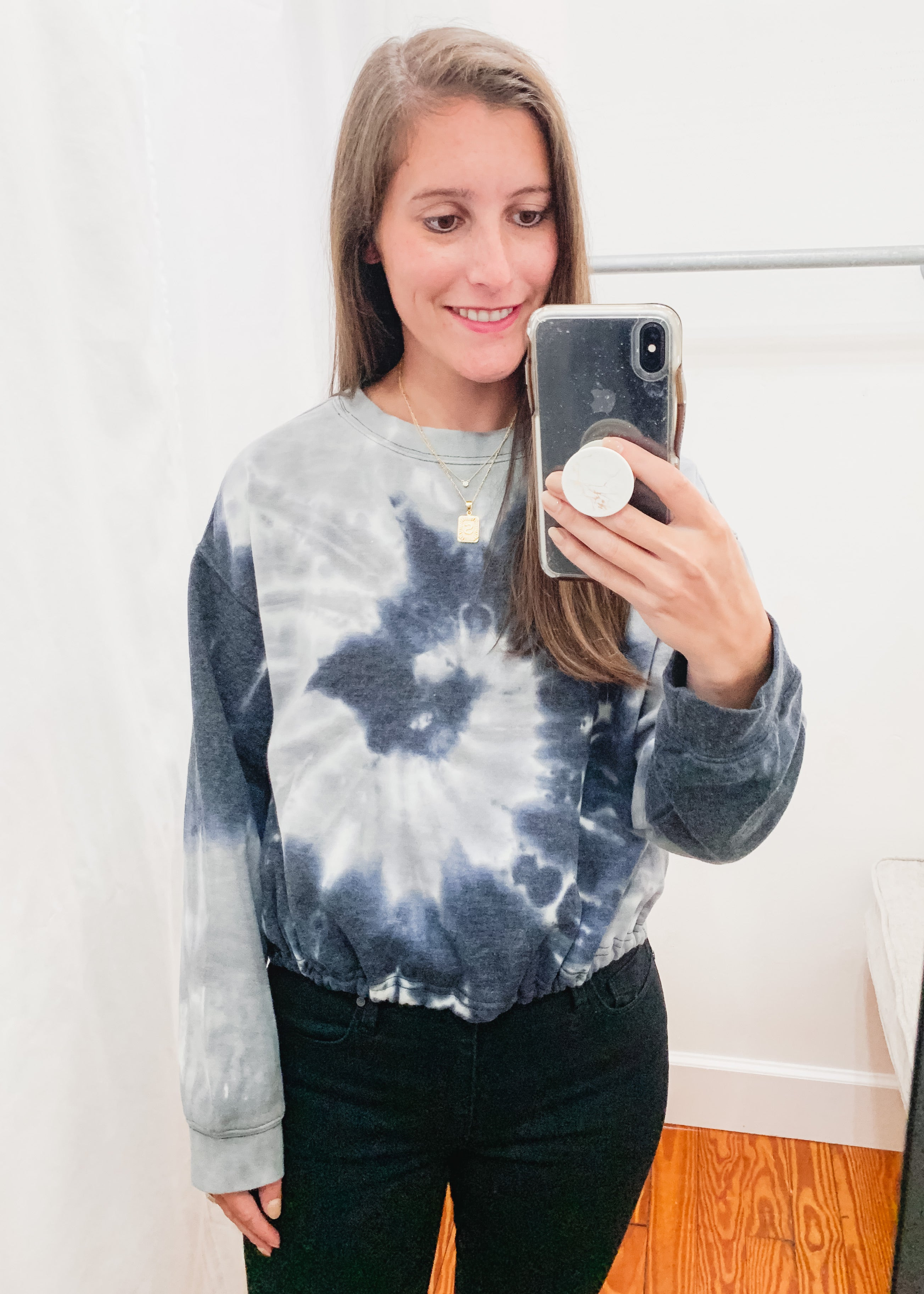 Eliza Tie Dye Top -Grey Combo