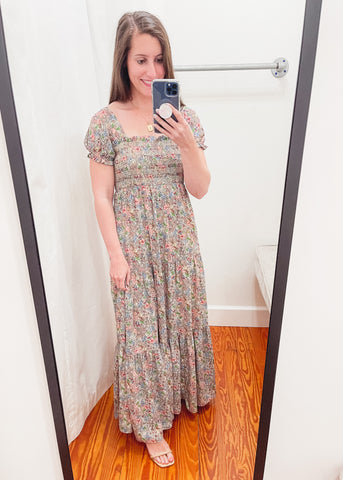 Hattie Smocked Maxi Dress -Woodstock